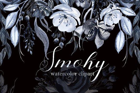 Smoky Black Grey Watercolor Flowers