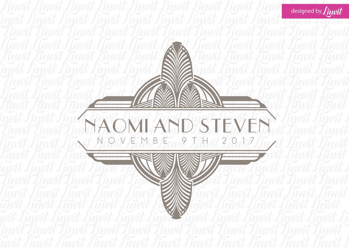 art deco wedding logo logo templates creative market. Black Bedroom Furniture Sets. Home Design Ideas