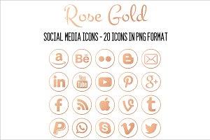 Social Media Icon-Circled Rose Gold
