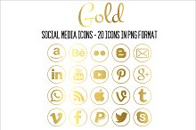 Social Media Icons - Gold - Round