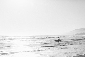 Surfer with Shore B+W