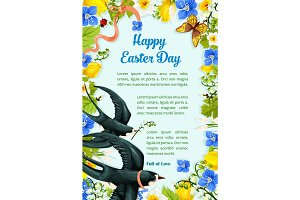 Easter poster swallows, vector paschal flowers
