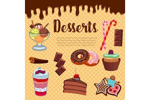 Desserts waffle and cakes vector poster