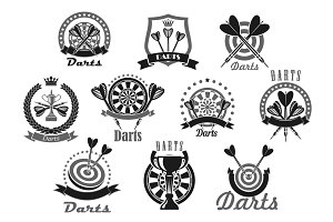 Darts sport award or victory vector icons set