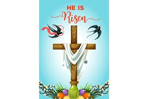 Easter Sunday cross with eggs greeting card
