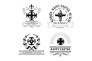 Easter cross symbol set with religious crucifix