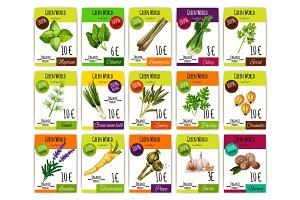 Spice and herbs vegetables price tags vector set