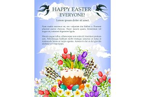 Easter cake, egg and flower poster template