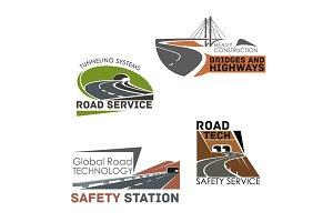 Road construction and service vector icons