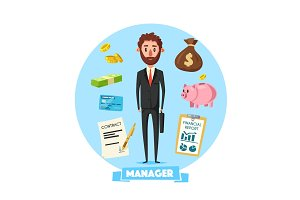Manager man with vector office business items