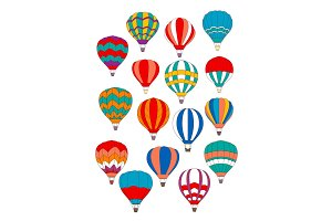 Air balloon vector isolated icons set