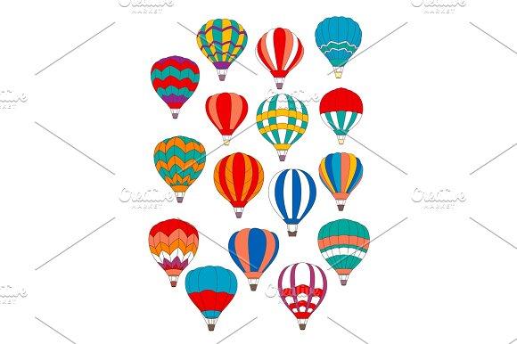 Air Balloon Vector Isolated Icons Set
