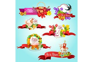 Easter ribbon banner and label for holiday design