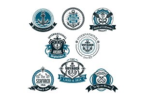 Nautical and marine vector icons set
