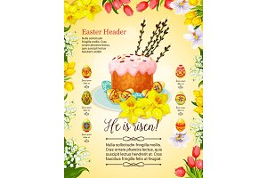 Easter cake and egg poster with flower decoration