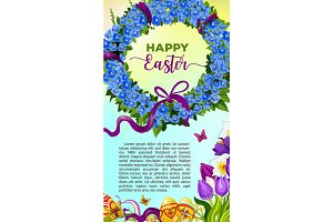Easter egg and flower wreath cartoon poster