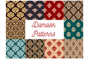Damask floral pattern seamless vector set