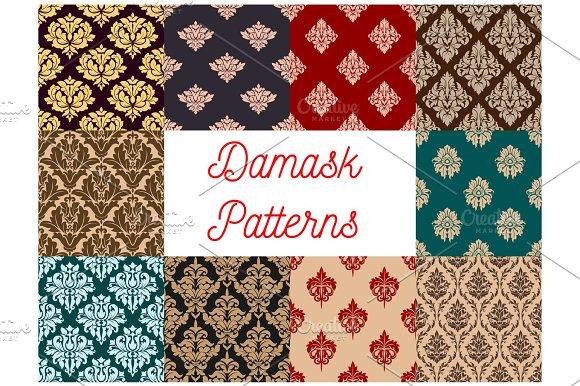 Damask Floral Pattern Seamless Vector Set