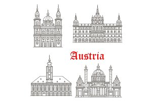 Austria architecture buildings vector icons