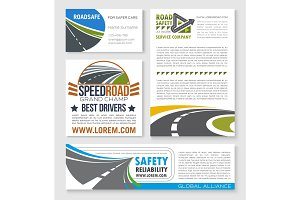 Speed road construction and service vector banners