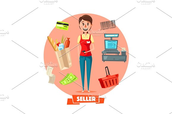 Seller Woman Or Cashier In Shop Vector Retail