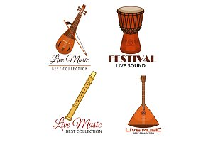 Live music folk festival vector icons