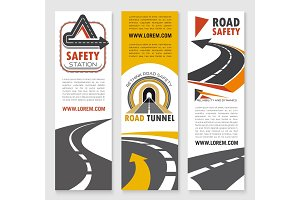 Road safety service company vector banners