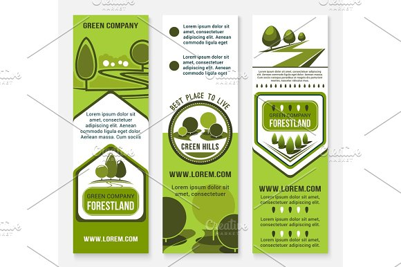 Green Eco Landscape Design Company Vector Banners