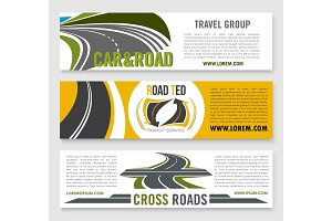 Travel road group company vector banners
