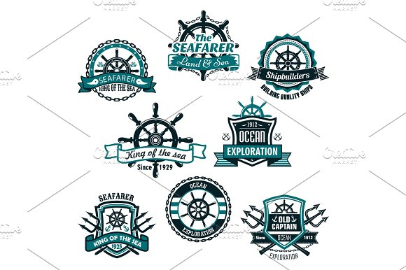 Nautical And Marine Anchors Vector Icons Set