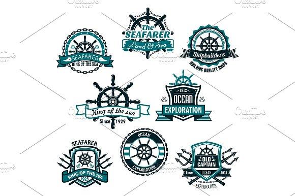 Nautical And Marine Anchors Vector Icons Set