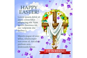 Easter cross with flowers cartoon festive poster