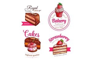 Cakes and cupcakes dessert vector emblems