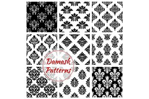 Damask ornament seamless patterns vector set