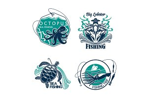 Fishing sport club or trip vector icons set