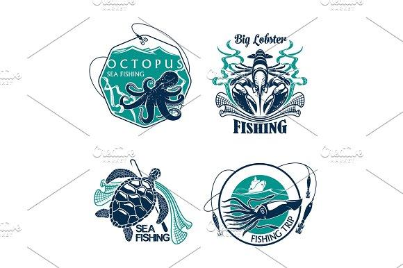 Fishing Sport Club Or Trip Vector Icons Set