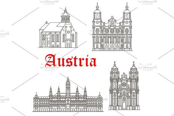 Austrian Architecture Buildings Vector Icons