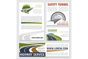 Road and highway service company vector banners