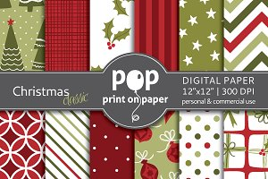 Classic Christmas Digital Paper JPG