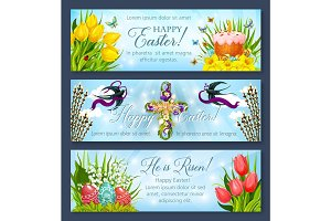 Easter banner set with egg, cake and flower cross