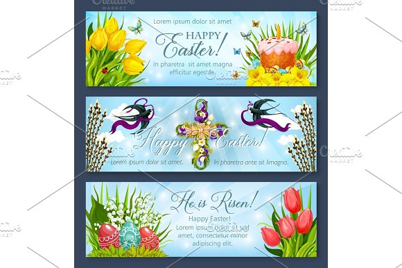 Easter Banner Set With Egg Cake And Flower Cross