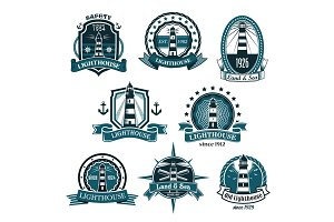Nautical lighthouse vector icons set