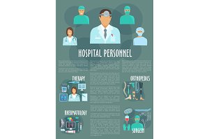 Medical or hospital personnel vector infographics