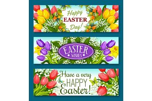 Easter greetings banner set with flowers and eggs