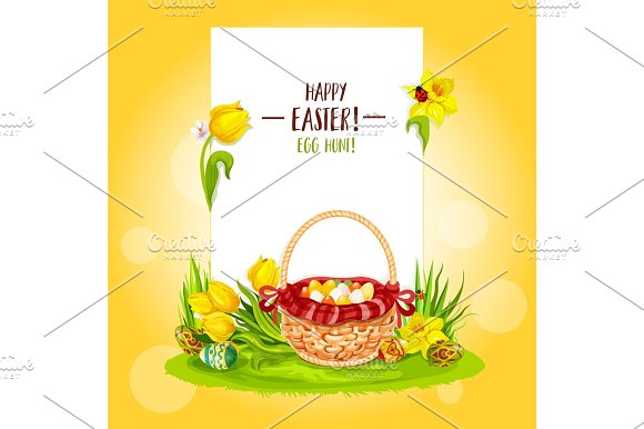 Easter Egg Hunt Basket With Flowers And Copy Space