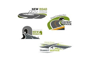 Road service, bridge or tunneling vector icons