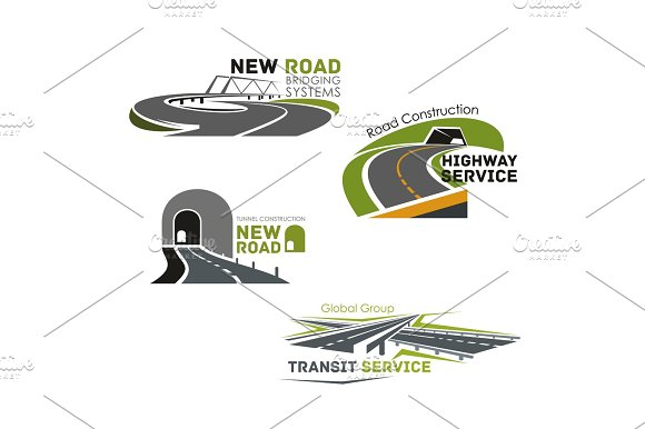 Road Service Bridge Or Tunneling Vector Icons