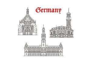 Architecture buildings of Germany vector icons