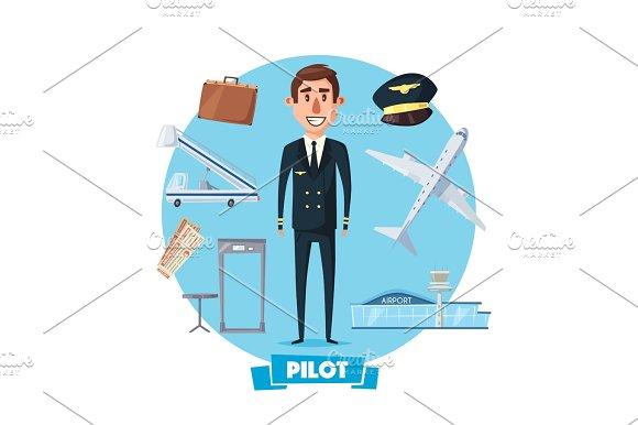 Pilot Profession Man And Vector Flight Items
