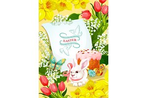 Easter and Egg Hunt poster with rabbit, egg, cake